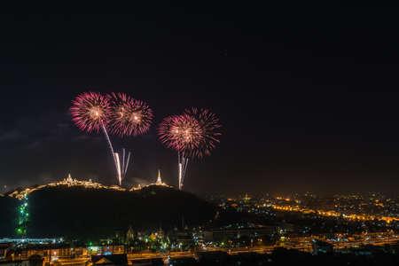 blowup: Annual firework at Kaowang, Petchaburi,Thailand.