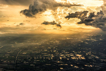 agricultural area: Aerial view of agricultural area on cloudy day. Stock Photo