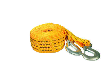 Tow rope for car isolated on white background.