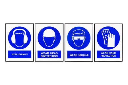 head protection: Wear earmuffs or earplugs, Wear head protection, Wear goggles, Wear hand protection, Blue and white Safety signs.