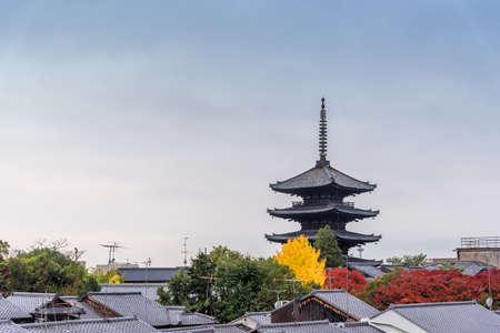 shinto: Pagoda of Toji Temple when autumn in Kyoto, Japan. Stock Photo