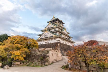 Osaka Castle with autumn leaves, Osaka prefecture, Japan, UNESCO world heritage site.