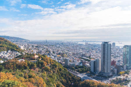 Aerial view of Kobe city in the autumn.