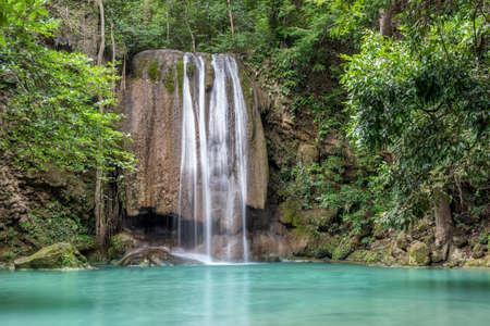 Erawan waterfall in deep forest at Erawan National Park, Kanchanaburi, Thailand. Banco de Imagens
