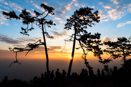 Colorful sky and silhouette of people seeing sunrise at Phukradueng National Park, Thailand.