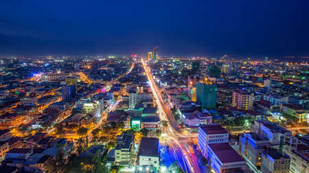 PHNOM PENH, CAMBODIA -  Scene of night life at most popular tourist street  in capital city Phnom Penh, Cambodia 스톡 콘텐츠