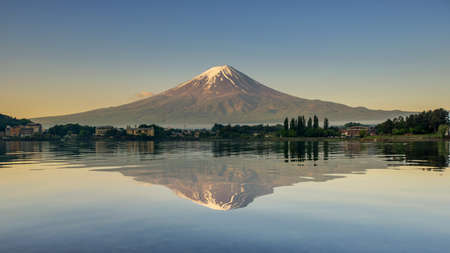 kawaguchi ko: Mount Fuji reflected in Lake , Japan. Stock Photo