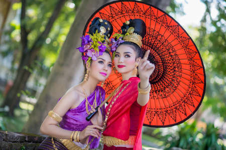 Thailand Lanna women dress .Thai woman dressing traditional. Wearing on important Day, New Years Day Culture traditional Day Reklamní fotografie