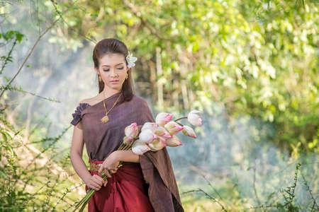 Thai woman,Thai culture traditional ,vintage style Stock Photo