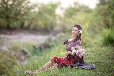 thai culture: Thai woman,Thai culture traditional ,vintage style