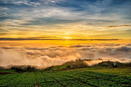 raod: Sunrise over mountain at Phu Tab Berk,THAILAND