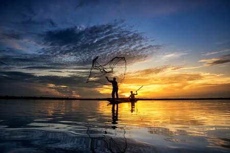 nakhon: Silhouette of fish lift nets ,Wanonniwat ,Sakon Nakhon, Thailand Stock Photo