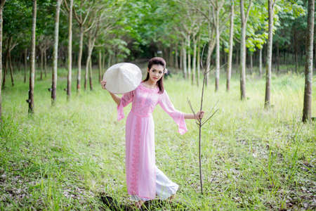lovelorn: Ao dai is famous traditional costume for woman in VIetnam.