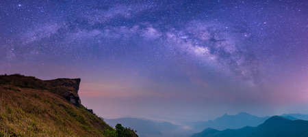 Abstract blurred landscape with Milky way galaxy Night sky with stars and silhouette of rock mountains. Phu Chi Fa View Point at Thoeng District, Chiang Rai Province,Thailand, Long exposure photograph