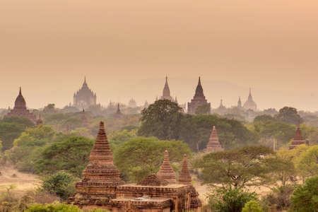 Sunset at Pagoda landscape in the plain of Bagan, Myanmar (Burma)