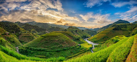 Rice fields of terraced on river at high mountain in sunrise twilight at Veitnam