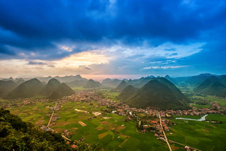 Rice field in valley around with mountain panorama view in Bac Son valley, Lang Son, Vietnam Kho ảnh
