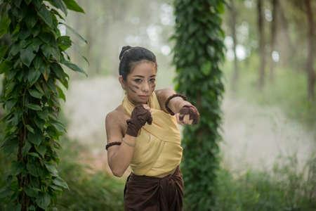 muay thai boran fighter one woman boxer boxing kickboxing Thai boxing vintage style,Thailand