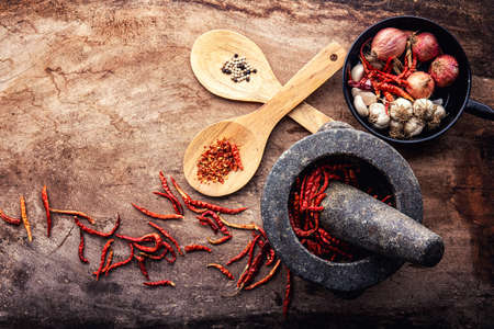 Red dry chili pepper    garlics and red onions  on wooden background. top view - vintage film grain filter effect styles