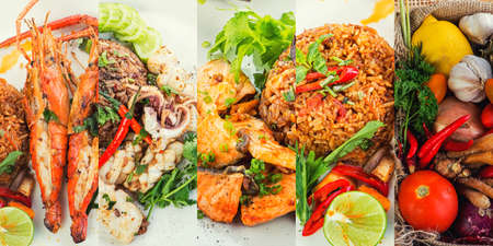 Asian fried rice nasi goreng with  crab,  Shrimp, Octopus,  Salmon, Tom Yam Seafood Fried Rice ,Thai Food