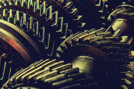 Engine gear wheels, industrial on wooden