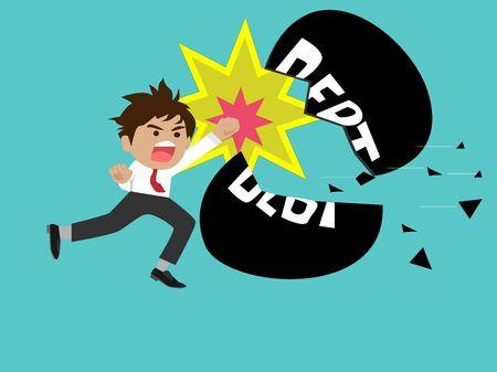 Leading businesspeople punch large amounts of debt. Debt Management Concept