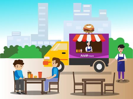 Food trucks sell hamburgers and beverages to take home or eat at the shop with limited seating.