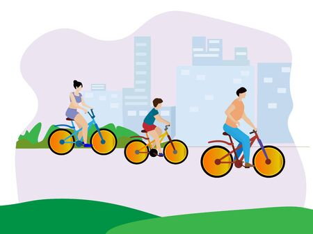 Cycling as a family in the park to exercise. Illustration