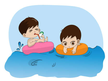 Children playing in the pool, two little boys are having fun Vectores