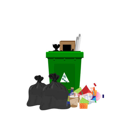 Illustration of garbage and plastic bags for green bins. Food waste can be left in a separate black bag on a white background.