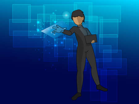An abstract image of a hacker using a laptop and a hologram stealing the database. Concepts of cyberattacks, viruses, malware, illegal security and cybercrime
