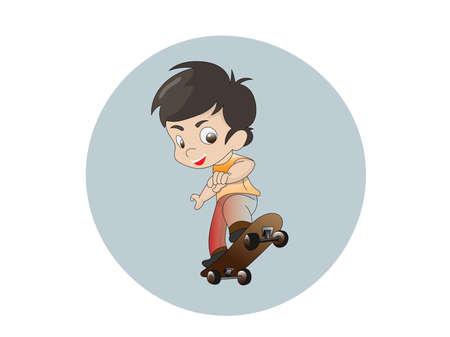 Cartoon boy playing skateboard image Happily