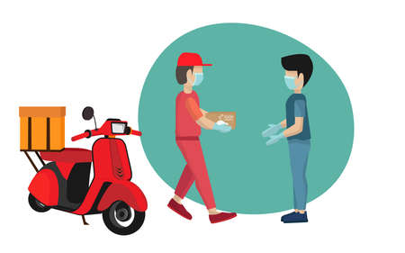 Safe fast food delivery During the coronavirus outbreak: men deliver bags with food. To the customer and keep a safe distance.He wears a mask and protective gloves.