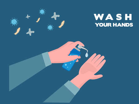 Wash your hands with gel to clean. Concept of prevention of COVID-19 or diseases