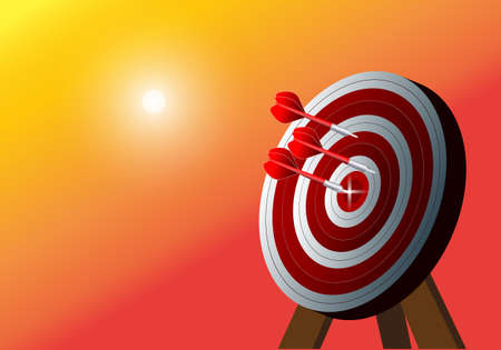 Bullseye is a business goal. Dart is an opportunity and Dartboard is a goal and goal, a business challenge concept.