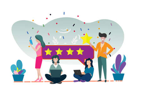 Consumer feedback or customer feedback rating, satisfaction level and critic icon concept Vector illustration 일러스트