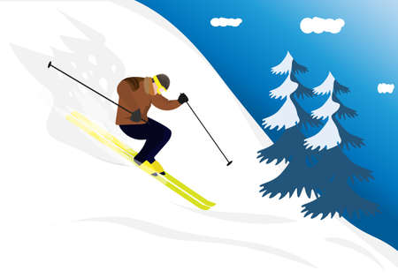 A man skiing quickly from the mountains Winter sports and entertainment Flat style vector illustration 向量圖像