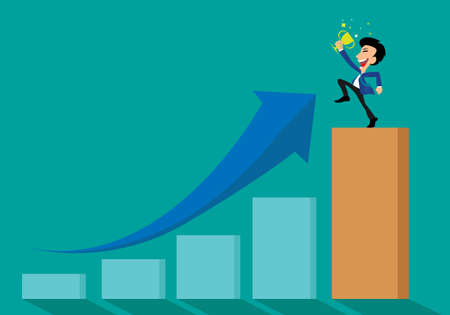 Businessman standing with victory cup on top of successful concept arrow graph vector illustration 矢量图像