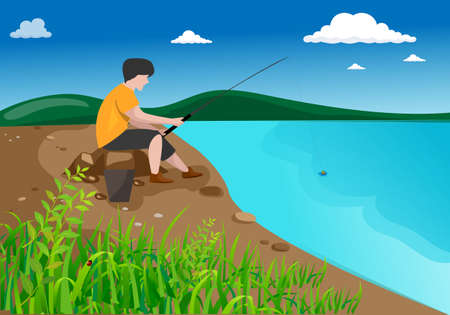A man with a fishing rod sitting on a stone by the lake