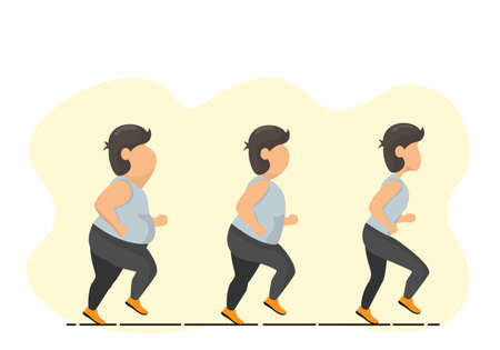 Fat men regularly run weight loss until their proportions are back in shape.Flat vector illustration