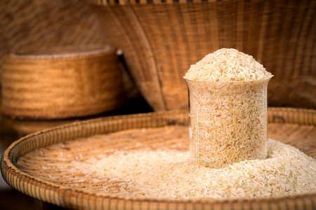 threshing: Rice in a test tube on threshing basket.