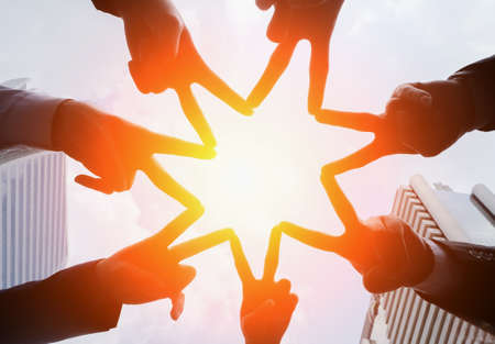 Circle People Hand Assemble Corporate Meeting Teamwork Concept,successful, mission complete, achievement,