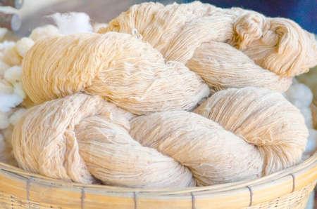 Thai Raw cotton before weaving. Standard-Bild