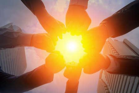 Travail d'équipe collaboration, cycle, grand centre du soleil, le concept d'équipe d'affaires. Banque d'images