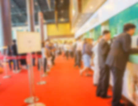 Blurred image of register counter at the exhibition for background usage. Stock Photo