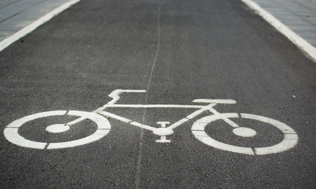 jailbreak: Bicycle road sign painted on road. Stock Photo