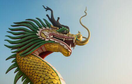 festival scales: close up of Golden dragon head statue