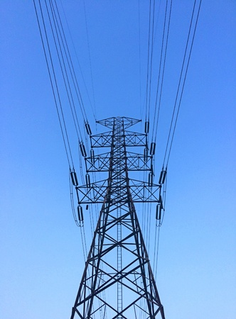 wire: High voltage post with blue sky