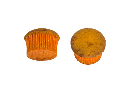 wrappers: two brown cupcakes on white background Stock Photo