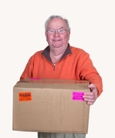 a senior man with a delivery box